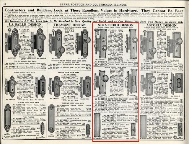 Sears Stratford design door hardware in 1912 Sears building supplies catalog