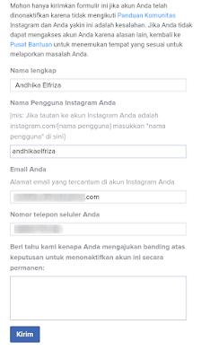 Mengembalikan Akun Instagram Yang Diblokir