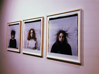 3 static portraits on a wall