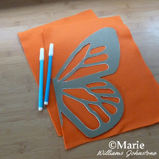 Orange craft felt sheets with template and water soluble fabric marker pens