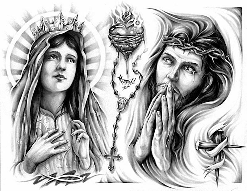 Maica Domnului si Iisus cum se roaga