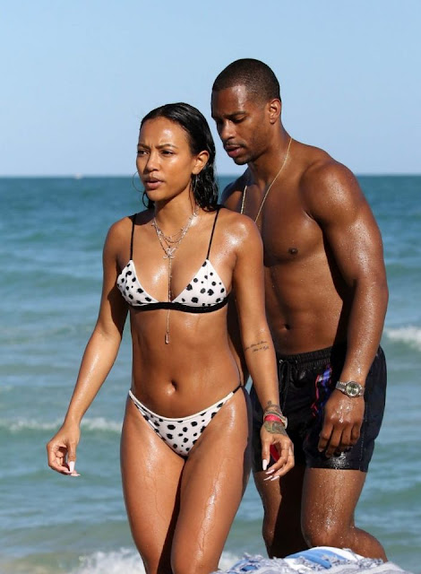 Karrueche Tran and Victor Cruz in bikini