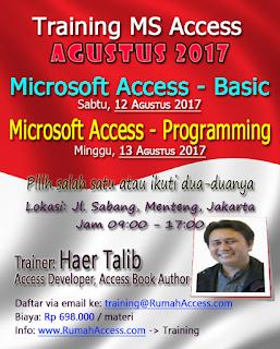 Training MS Access Agustus 2017 RumahAccess.com