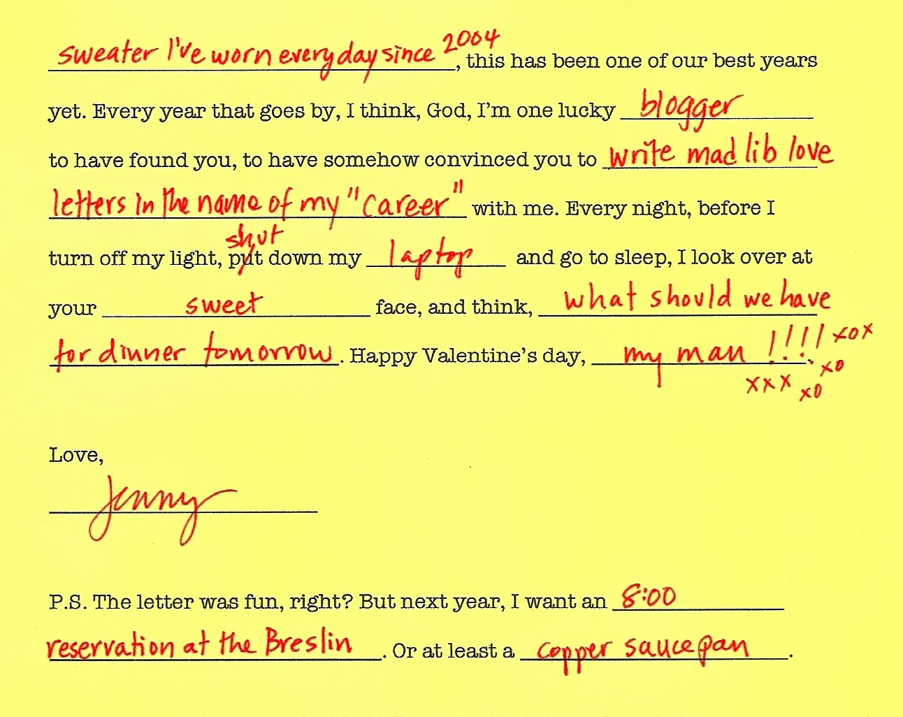 Valentine Mad Libs 5
