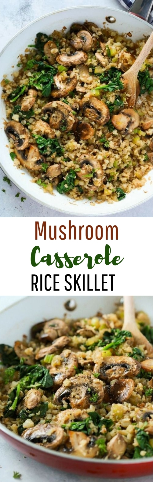 Mushroom Cauliflower Rice Skillet #healthy #vegetarian