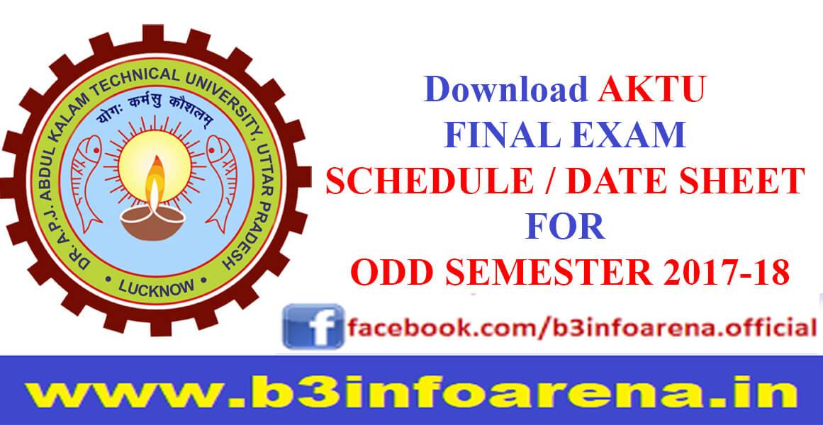 Download AKTU Odd Sem Date sheet 2017-18