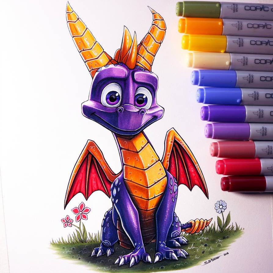 12-Spyro-the-Dragon-C-Straver-Fantasy-Movie-Characters-Drawings-www-designstack-co