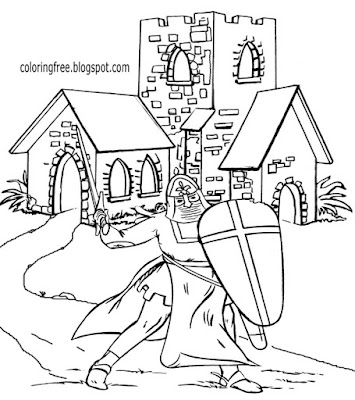 Historical old landscape medieval church building British knight Dark Ages coloring pages for kids