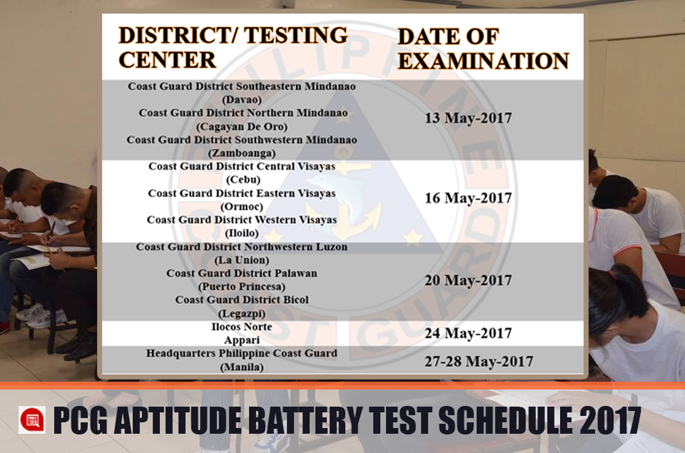 PCG Aptitude Battery Test Schedule for 2017 #CoastGuard - Exam News