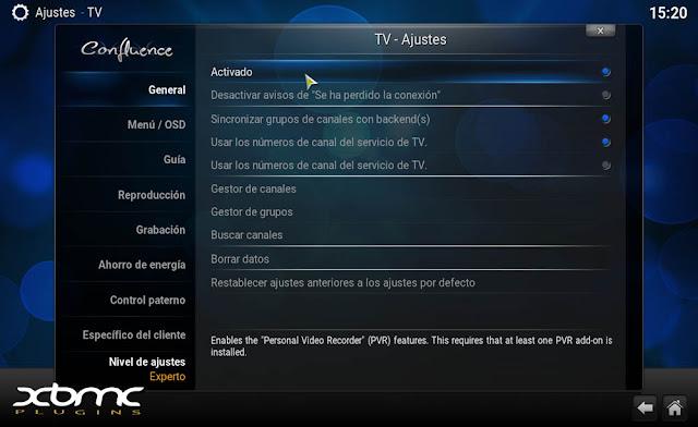 Configurar PVR IPTV Simple Client en KODI
