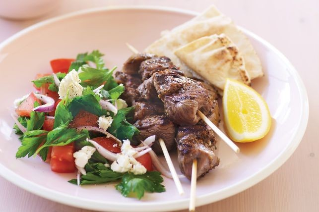 These tasty lamb skewers taste great served with Lebanese bread and a squeeze of lemon Lemon and oregano lamb kebabs recipe