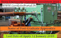 Heavy Engineering Corporation Limited Recruitment 2018 –169 Graduate Apprentice & Technician Apprentice