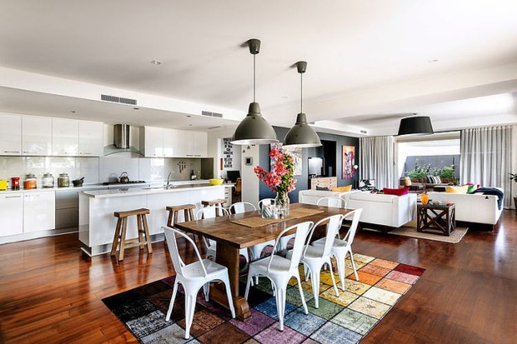 story modern interiors western australia interior kitchen room dining living open collected australian contemporary sala jantar combination tapete architecture em