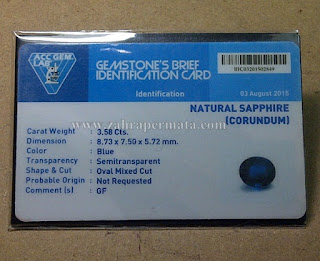 Cincin Batu Permata Royal Blue Saphire + Memo