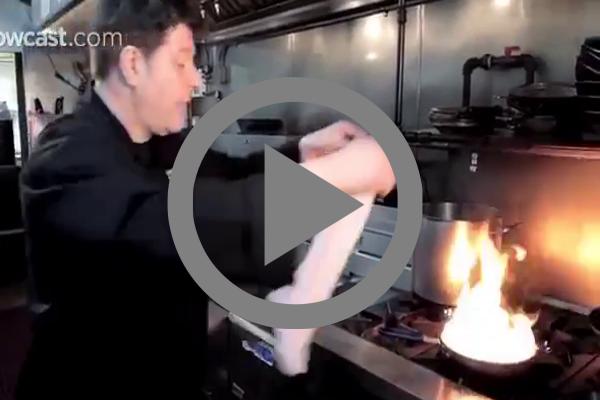 Extinguishing-fire-inside-skillet