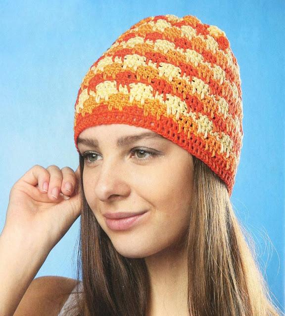 Желто-оранжевая шапочка. Colored lady summer hat