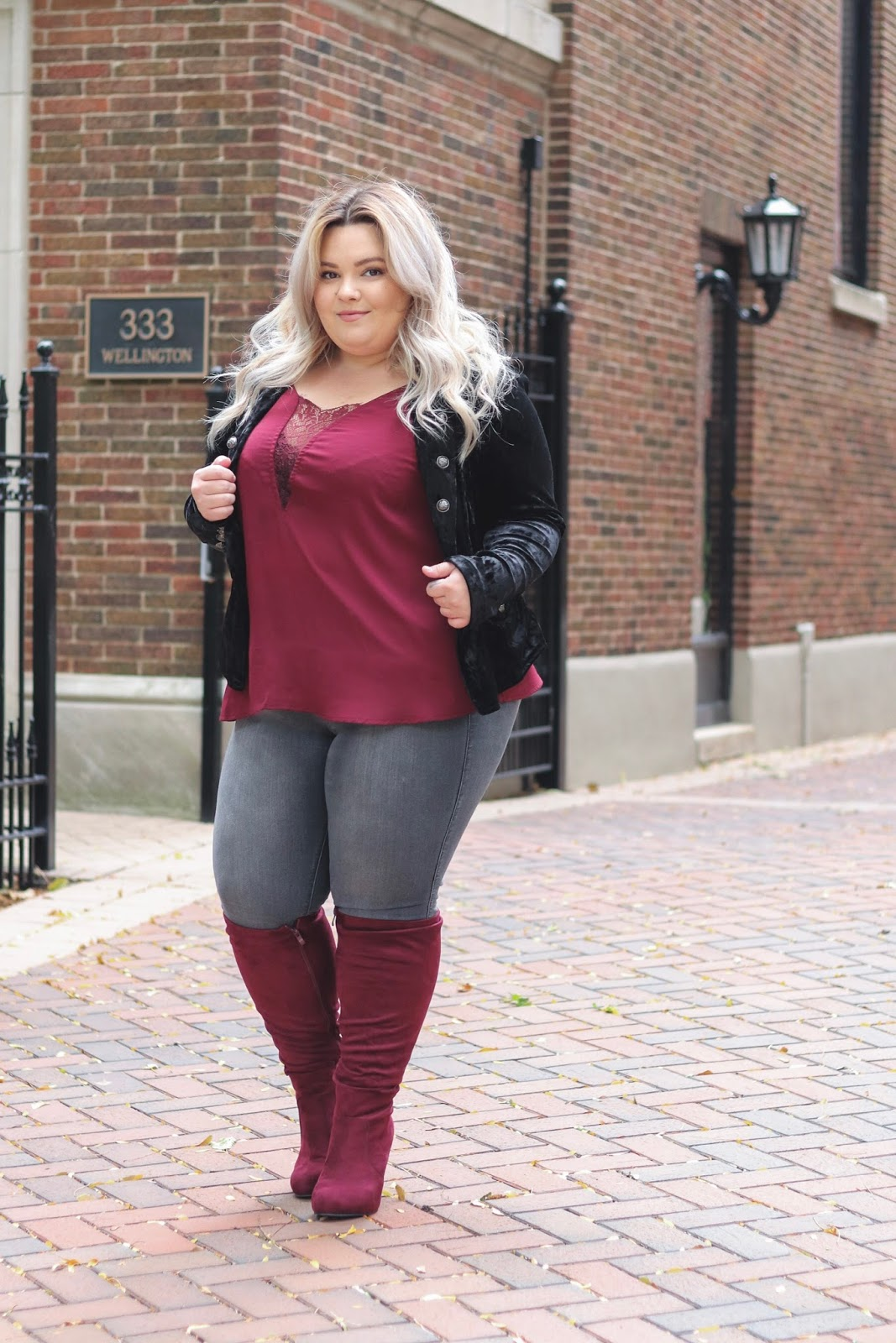 natalie in the city, Natalie Craig, plus size fashion, Chicago model, plus size model, plus size fashion blogger, Chicago fashion blogger, curves and confidence, plus size wide calf boots, wide calf knee high boots, torrid, blogger review, lace tank tops, affordable plus size fashion