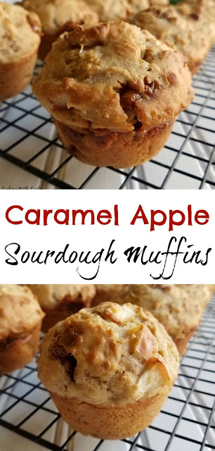These muffins are bursting with apple flavor! They bring a healthy punch of oatmeal, sourdough, whole wheat flour and yogurt as well. Start your day off deliciously!