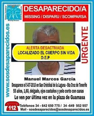 Encuentran sin vida el cuerpo de Manuel Marcos  García,. hombre que estaba como desaparecido en San Cristóbal de La Laguna, Tenerife