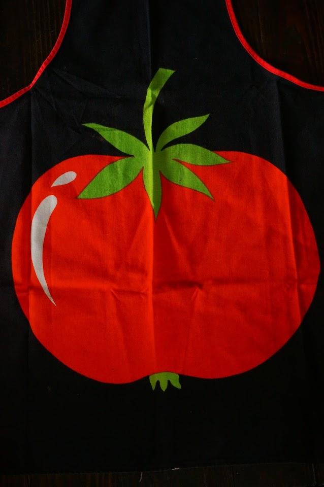 vintage 70s apron tomato tomate années 70 1970s tablier pop
