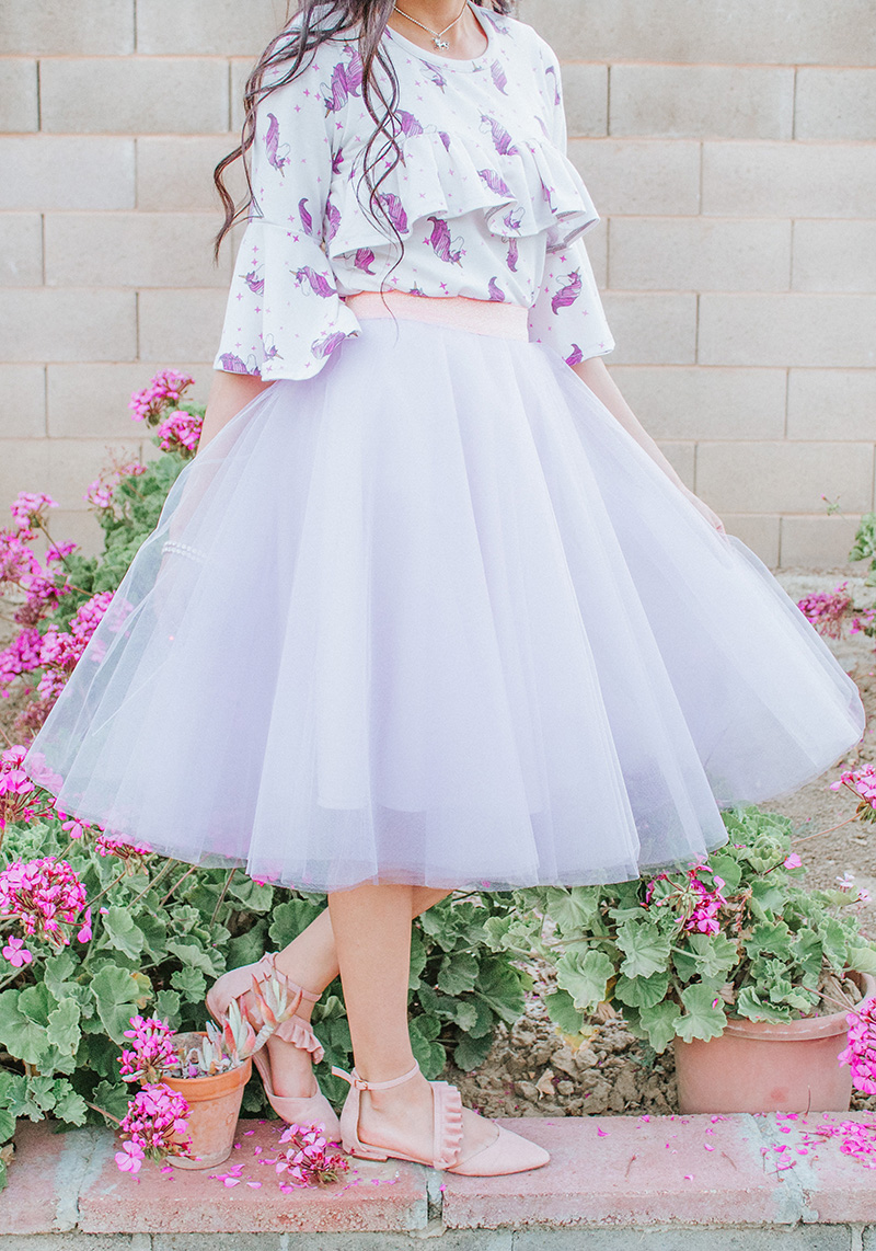 tulle circle skirt with ruffle blouse