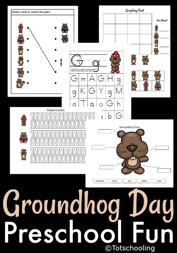FREE printable Groundhog Day fun pack for preschoolers. Pre-writing sheet, letter G recognition, graphing, labeling and shadow matching. Kids will love these groundhog themed activities!