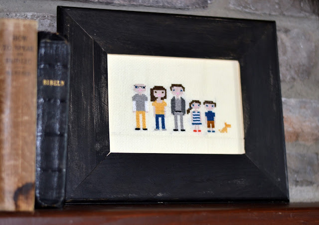 embroidered cross stitch family