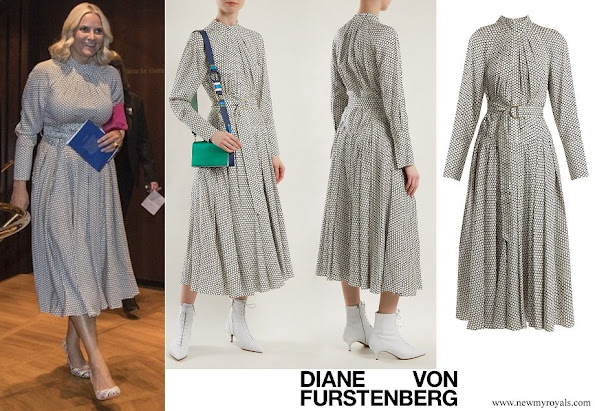 Crown Princess Mette-Marit wore DIANE VON FURSTENBERG Rowe dot-print stretch-silk dress