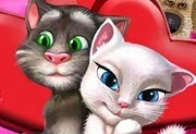 Talking Tom y Angela kissing
