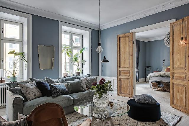 Дизайн-проекты. Серо-голубой фон для выразительного интерьера в Гетеборге