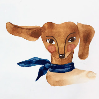 Dachshund in blue scarf illustration in gouache on gesso background - by Amy Lamp
