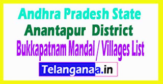 Bukkapatnam Mandal Villages Codes Anantapur District Andhra Pradesh State India