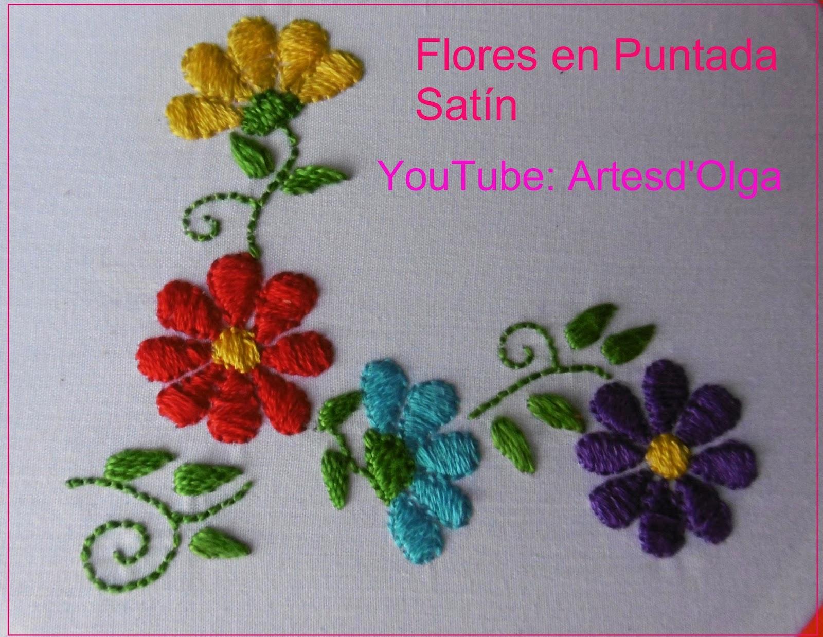 Artesd Olga Flores En Puntada Satin Bordado A Mano