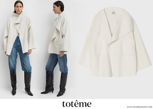 Crown Princess Victoria wore Toteme Annecy wool and cashmere-blend draped collar jacket in ivory