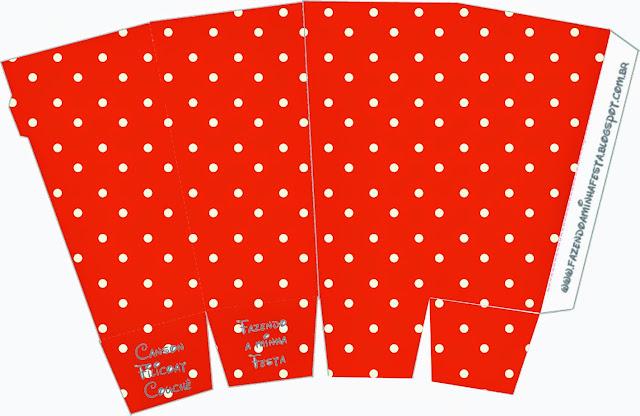 Cajas para palomitas de maíz = pop corns = poporopos de Rojo, Amarillo y Lunares Blancos.
