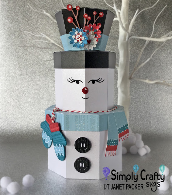 Snow Lady Stacking Boxes by Janet Packer (Crafting Quine) using Simply Crafty SVGs Snowman Stacking Box Set. http://craftingquine.blogspot.co.uk