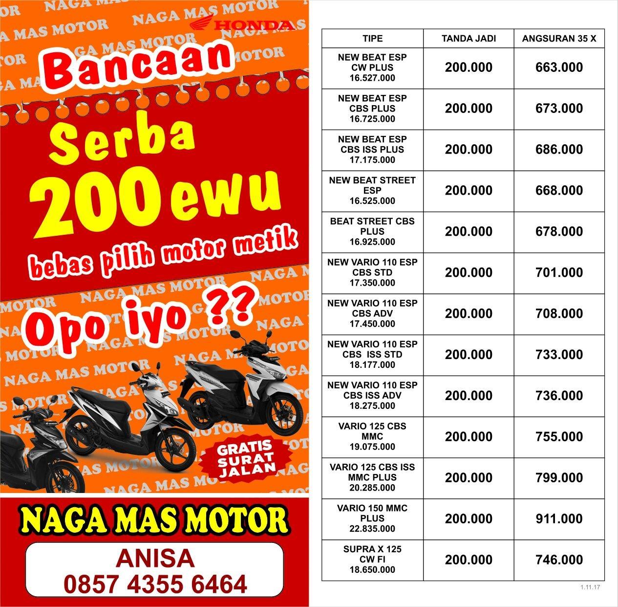 Anisa Counter Sales Dealer Nagamas Motor Klaten Revo Fit Raving Red Jepara Promo Akhir Tahun 2017 Naga Mas