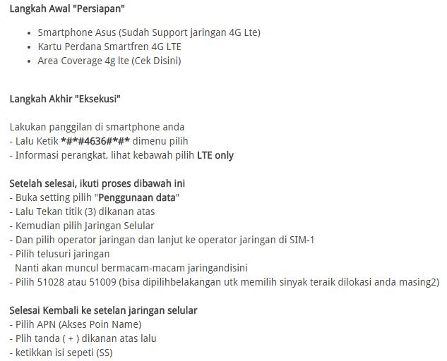 Cara Mudah Setting Jaringan 4G LTE Smartfren di Asus Zenfone 2 Terbaru