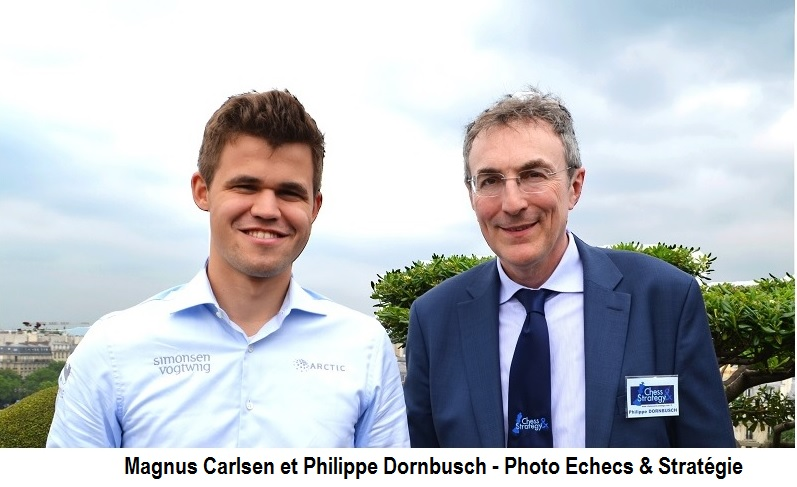 Le champion du monde d'échecs Magnus Carlsen en compagnie de Philippe Dornbusch - Photo © Chess & Strategy