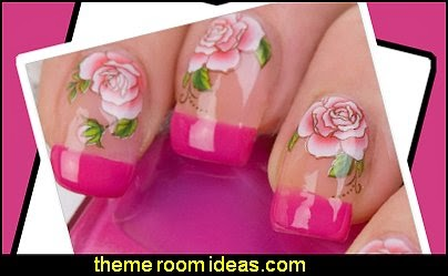 Red Roses Nail WRAPS Nail Art Water Transfers Decals