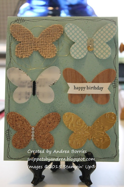 Card made with six butterflies die cut from different textured materials and patterned papers.