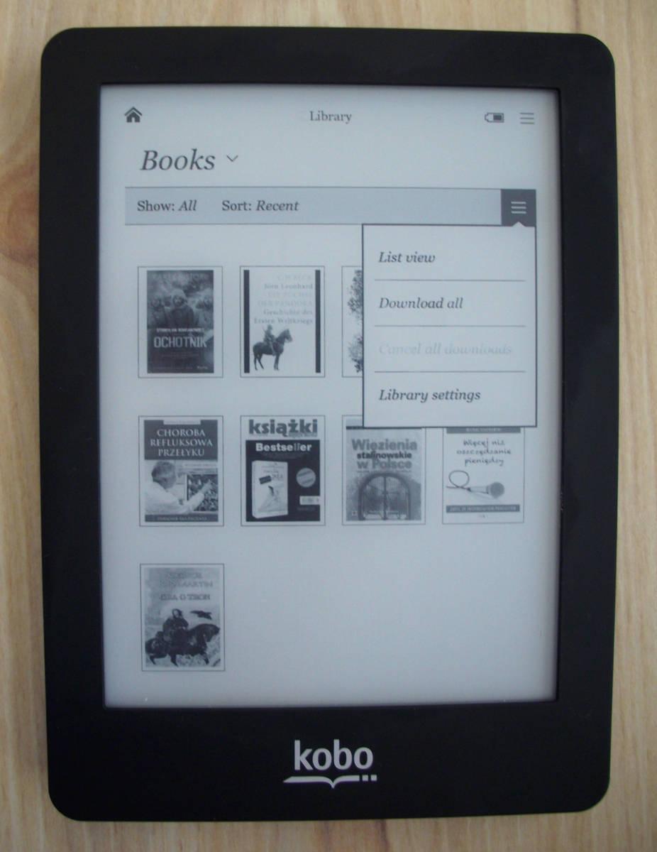 Widok biblioteki w czytniku Kobo Glo