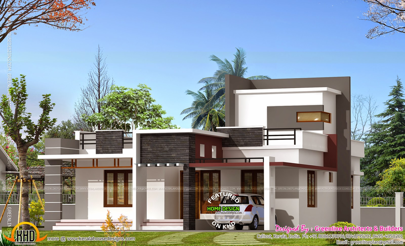 1000 square feet house kerala home design and floor plans for Modern home plans with cost to build