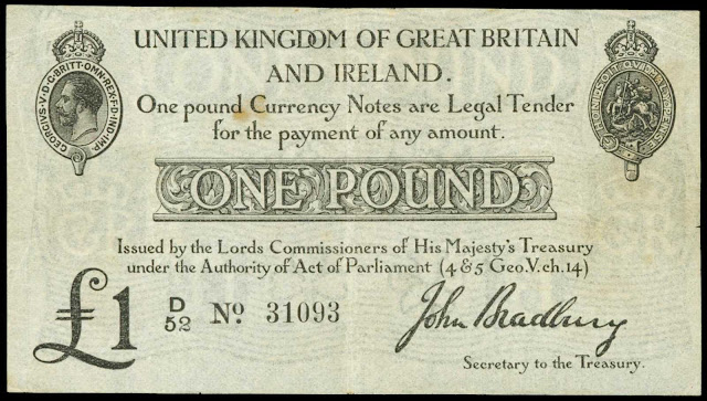 Great Britain Currency One Pound Treasury Note 1914 King George V