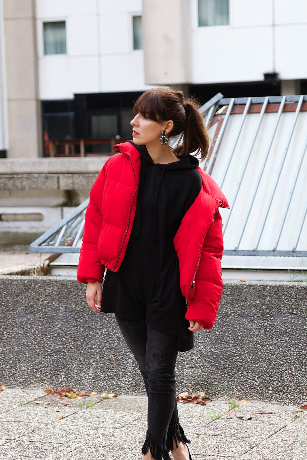 Manteau hiver rouge Bershka