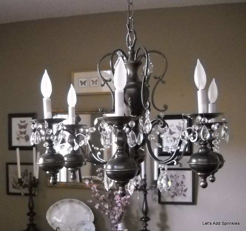 Lets add sprinkles spray painted chandelier makeover aloadofball Images