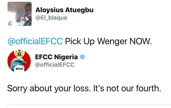 See EFCC reply to Arsenal fan over Man City loss