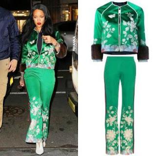 Rihanna con la colección de Gucci primavera-verano 2016. La cantante optó por combinarlo con botas blancas