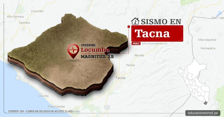 Temblor en Tacna de magnitud 3.5 (Hoy Lunes 26 Febrero 2018) Sismo EPICENTRO Locumba - Jorge Basadre - IGP - www.igp.gob.pe