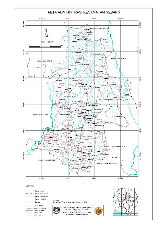 Peta Kecamatan Gebang, kabupaten Purworejo. Untuk high ...